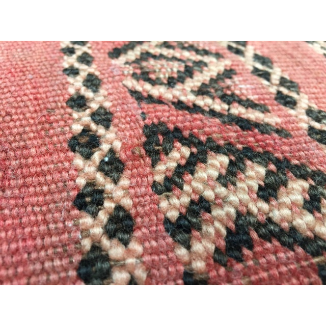 Moroccan Floor Pillow Tribal Seat Cushion Made From a Vintage Berber Rug For Sale - Image 9 of 13