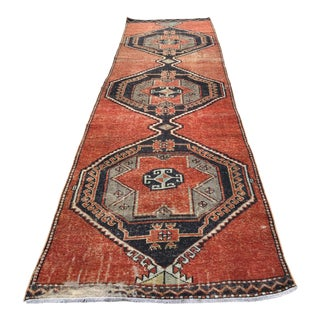 Vintage Turkish Oushak Geometric Design Handmade Rug Runner Rug - 3′4″ × 12′1″ For Sale