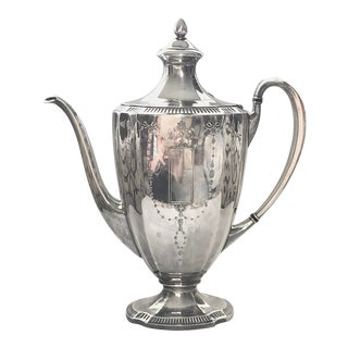 Antique Silver Plate Neoclassical Coffee Pot For Sale