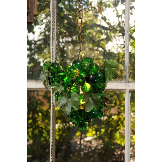 Art Nouveau Midcentury Grape Cluster Light of Green Lucite For Sale - Image 3 of 8