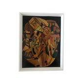 Image of Mid-Century Cubist Abstract Oil Painting by Eisman For Sale