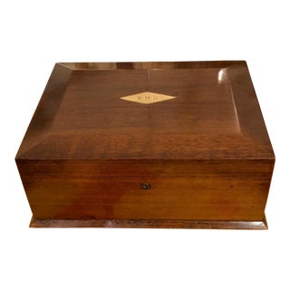 Vintage Art Deco Period Poker Chip Set in Mahogany Box For Sale