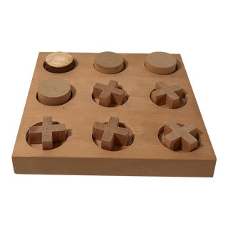 Vintage Mid-Century Modern Wooden Tic Tac Toe Game For Sale