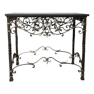 1990s Regency Iron Scroll Entry Table For Sale