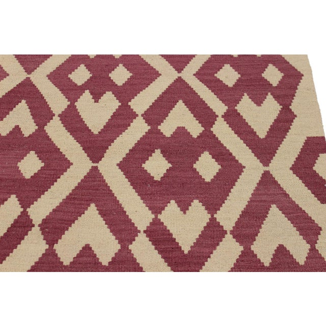 Modern Abstract Kilim Anjelica Hand-Woven Wool Rug -5′11″ × 8′4″ For Sale - Image 4 of 8