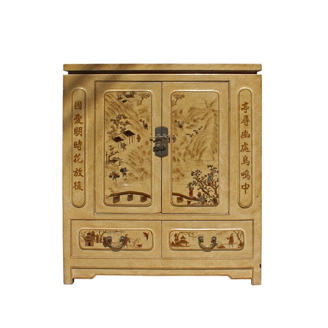 Tan Chinese Golden Beige Veneer Print Graphic Side Table Shoes Cabinet For Sale - Image 8 of 8