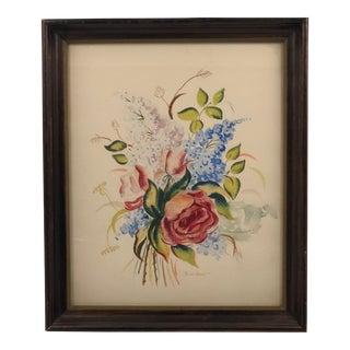 Vintage Floral Bouquet Signed Watercolor Painting For Sale