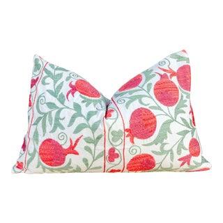 Pahi Pomegranate & Green Ivy Lumbar Suzani Pillow For Sale