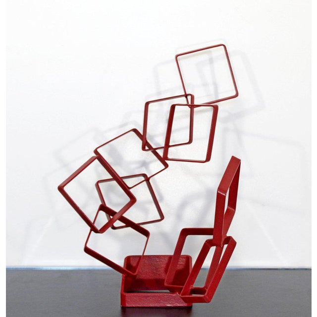 Contemporary Red Metal Abstract Table Sculpture Signed Cynthia McKean, 1990s For Sale In Detroit - Image 6 of 12