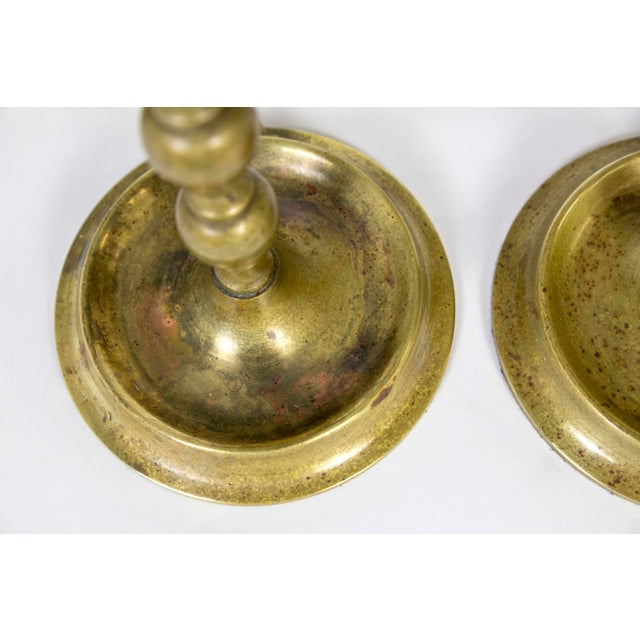 Early 20th C. American Colonial Brass Candlestick Lamps - a Pair For Sale - Image 4 of 9