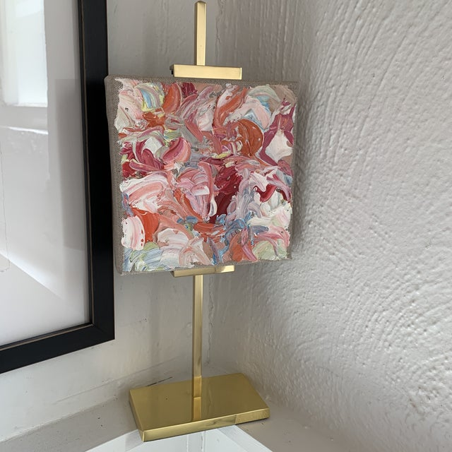 Abstract Abstract Oil Painting on Gold Adjustable Easel For Sale - Image 3 of 13