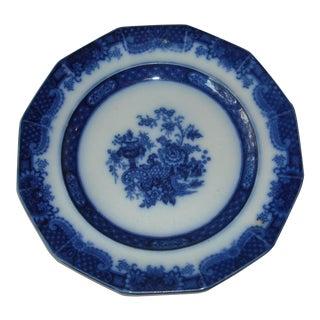 Antique Flow Blue Plate Indian Jar Pattern