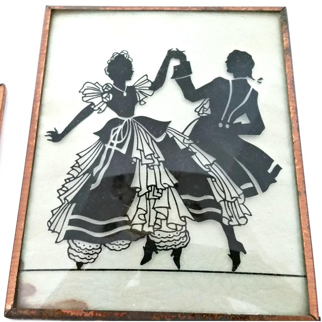 Vintage Musical Trio Reverse Painted Convex Glass Silhouettes - Set of 3 For Sale - Image 4 of 5