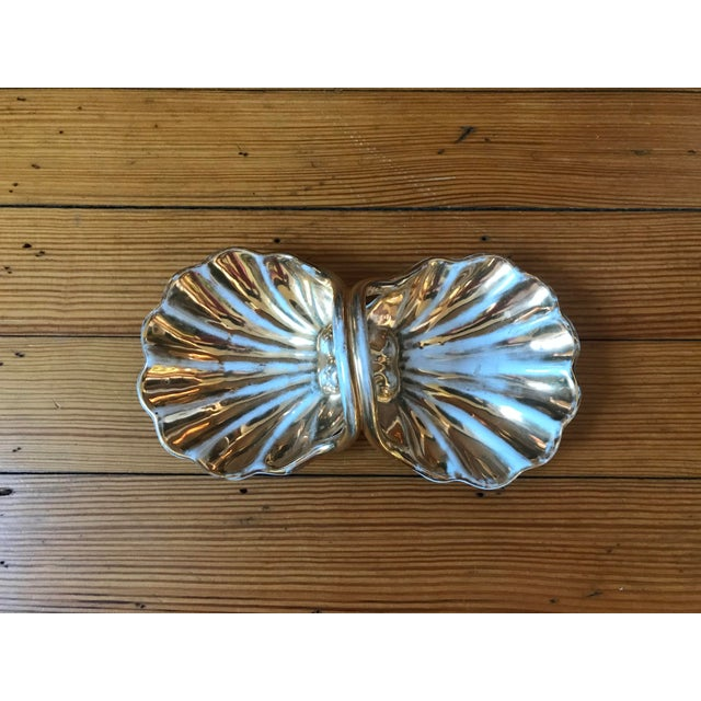 Vintage Italian Ceramic Trinket Dish. This dish is hand-painted/ glazed in white with gold gilt.the underside is hand...