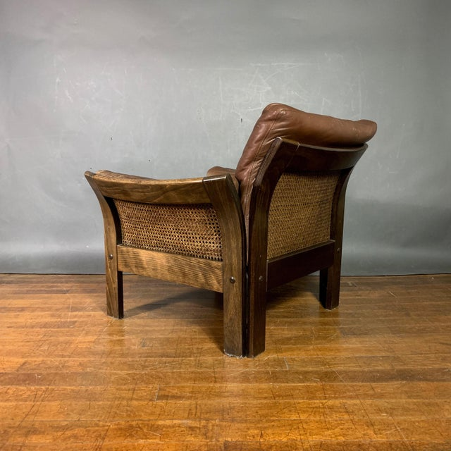 1970s Danish Leather Lounge Chair With French Cane Sides, Late 1970s For Sale - Image 5 of 10