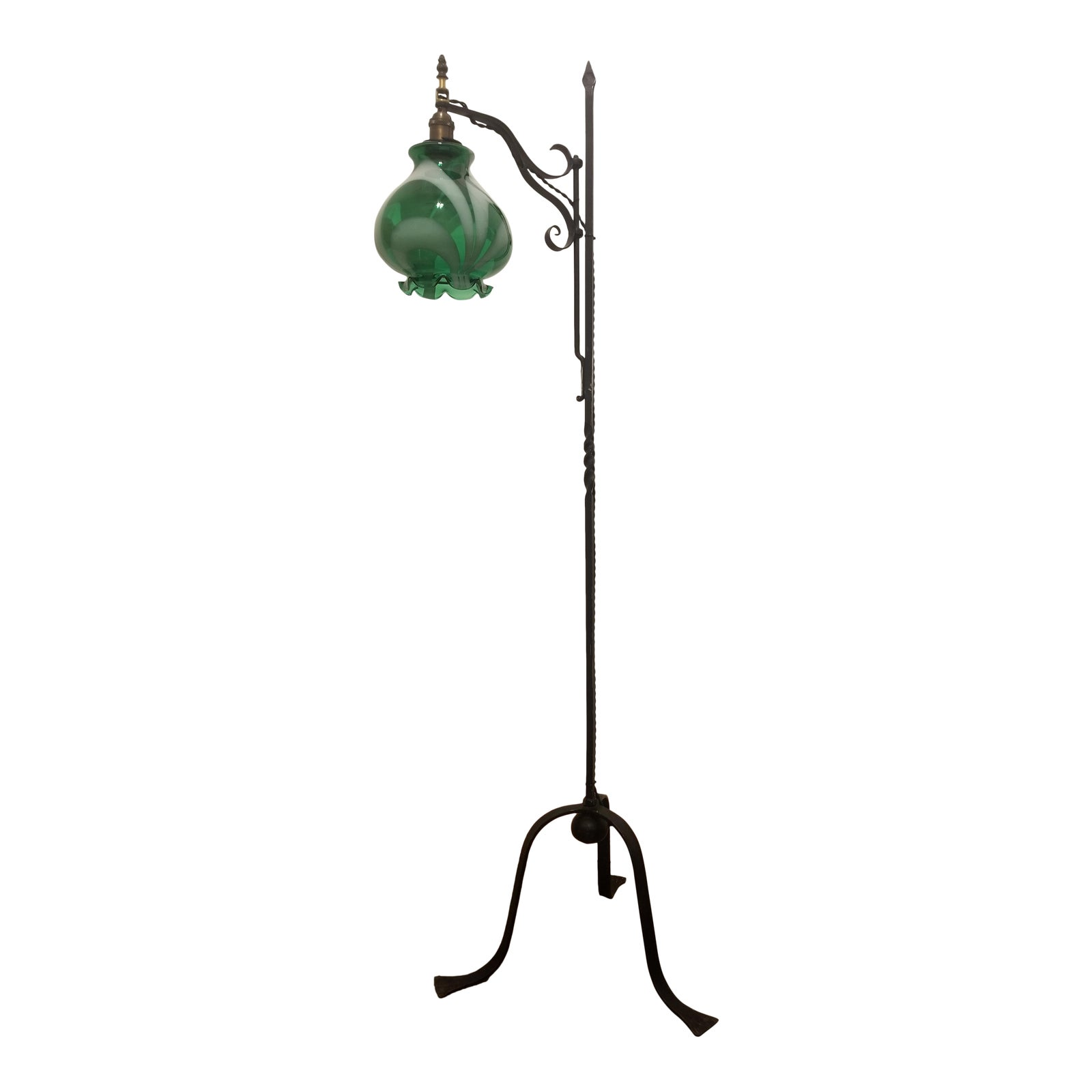 huge selection of d7a76 6db16 Vintage French Green Souffle Blown Glass Three-Legged Floor Lamp Arts &  Crafts Farmhouse Lighting