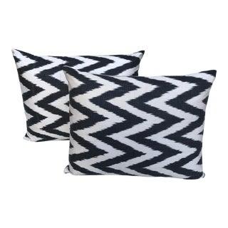 Modern Black & White Chevron Woven Silk Ikat Pillows - a Pair