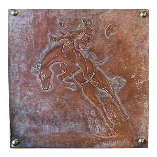Leather Tooled Cowboy Plaque For Sale