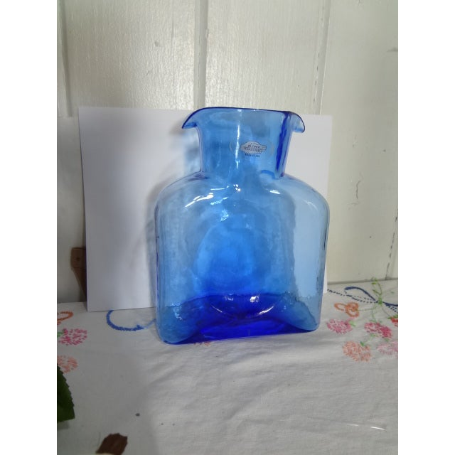 Blenko Hand Made Glass Water Pitcher For Sale - Image 9 of 12