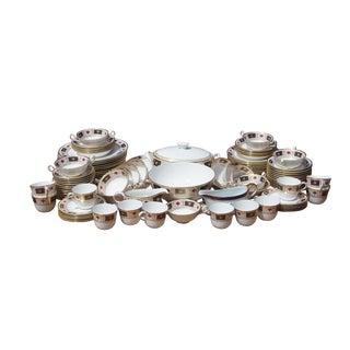 106 Piece Royal Crown Derby Border A1253 Imari English Bone China Set Floral Gilded For Sale