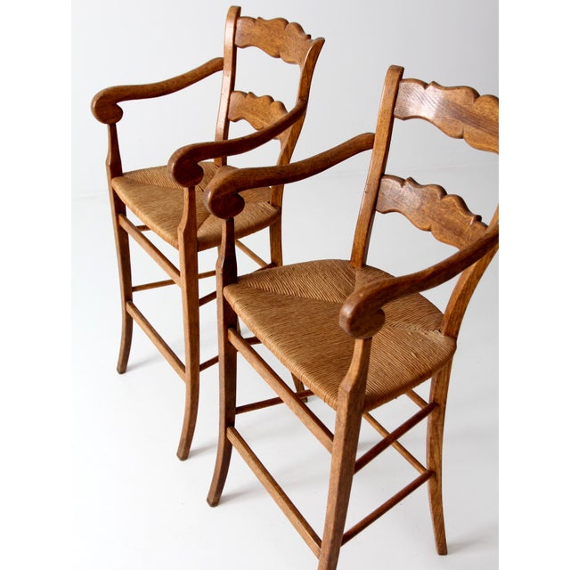 Vintage High Back Bar Arm Stools - A Pair - Image 5 of 7