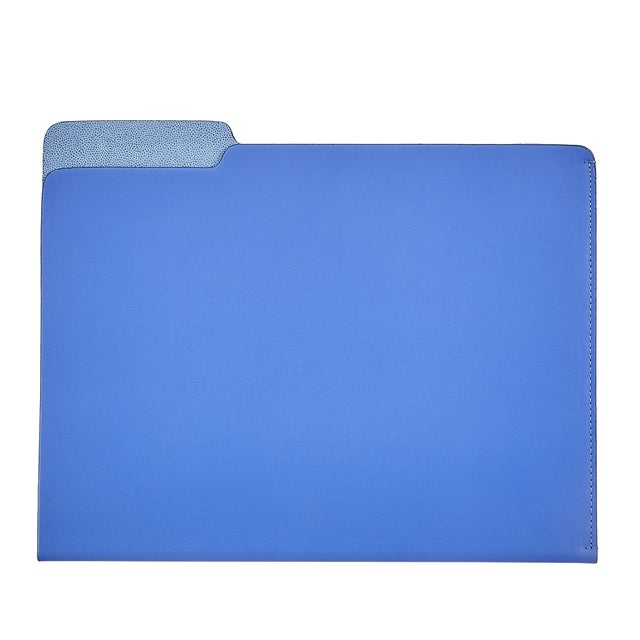 Traditional File Folder, Bonded Leather in Blue For Sale - Image 3 of 3