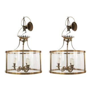 French Mid-Century Bronze and Glass Hanging Lanterns For Sale