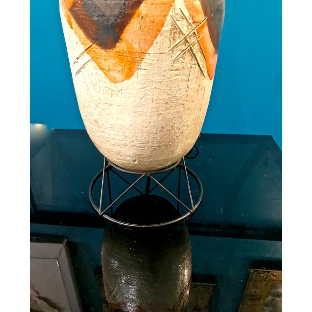 Pair Mid-Century Italian Glazed Terra Cotta Lamps For Sale In Los Angeles - Image 6 of 10