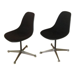 Pair Eames Black Fiberglass Shell Chairs, Aluminum Group