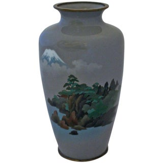 Yusen-Jippo & Musen-Jippo Japanese Golden Age Mt. Fuji Cloisonne Vase