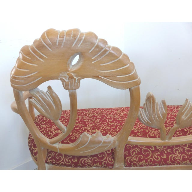 LaVerne Style Carved Wood Settee For Sale - Image 10 of 12
