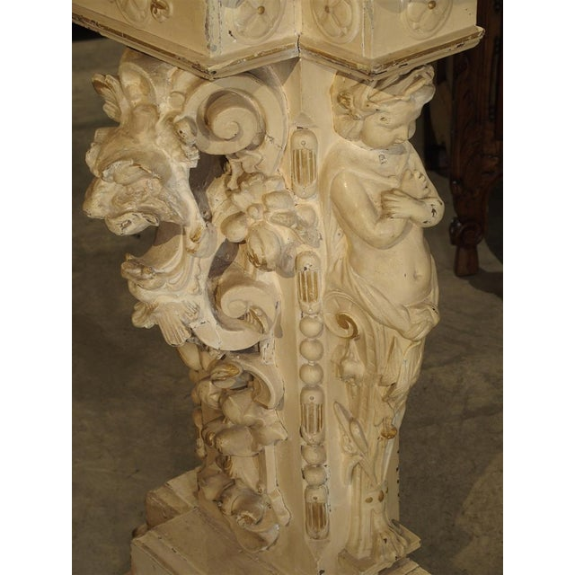 Mid 19th Century Antique Painted Napoleon III Wall Console Pedestal, Circa 1860 For Sale - Image 5 of 13