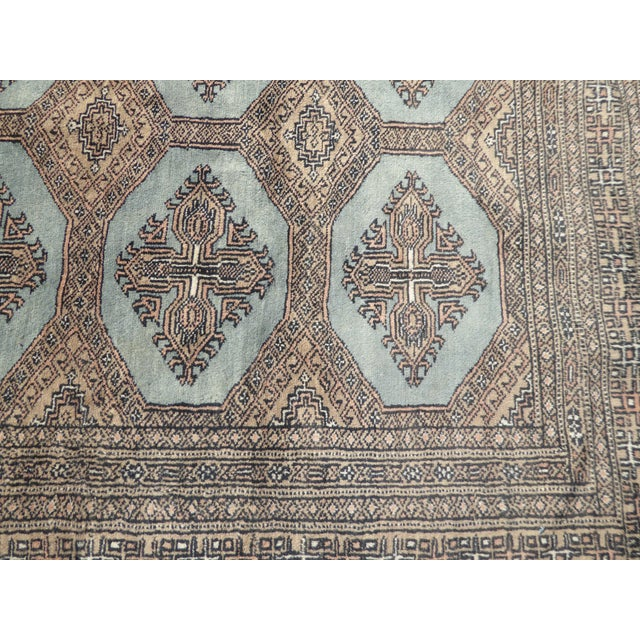 Vintage Mid-Century Handwoven Wool Pakistan Bokhara Area Rug - 4′3″ × 6′7″ For Sale - Image 9 of 12