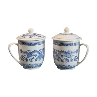 Covered Blue and White Tea Cups - A Pair For Sale
