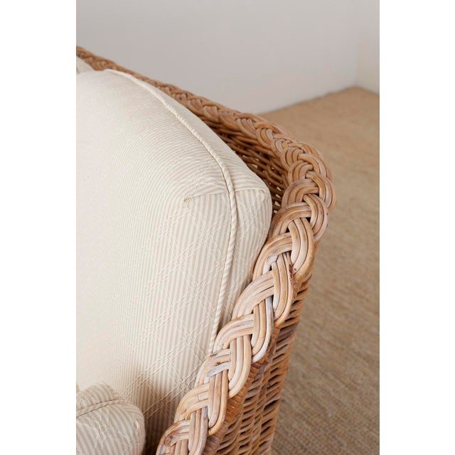 Bamboo Pair of Organic Modern McGuire Style Rattan Wicker Sofas For Sale - Image 7 of 13