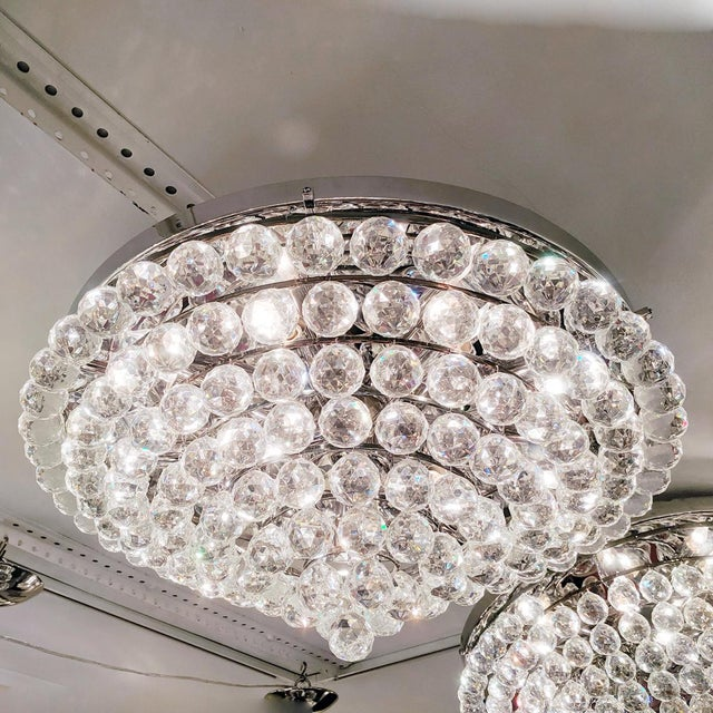 Hollywood Regency Tiered Austrian Crystal Ball Flush Mount Fixture For Sale - Image 3 of 6
