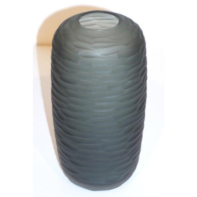 Salviati Vintage Italian Minimalist Smoked Gray Battuto Murano Art Glass Vases For Sale - Image 12 of 12