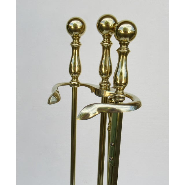 Vintage C.1970s Brass Fireplace Tool Set and Holder - 4 Pieces For Sale In West Palm - Image 6 of 13