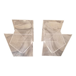 Clear Lucite Magazine Holder Side Tables - a Pair For Sale