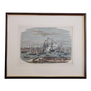 """1863 """"HMS Majestic at Liverpool"""" Nautical Hand-Colored Engraving, Framed For Sale"""