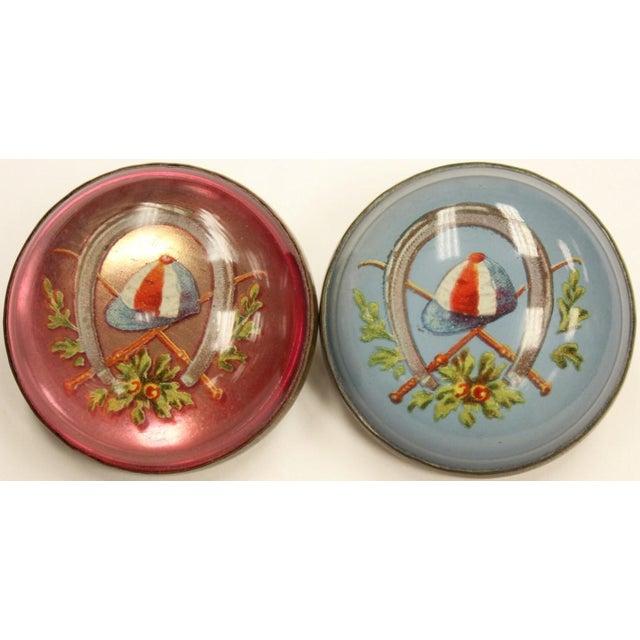"""Red & Blue 'Jockey Cap' Brass Harness Buttons. Dimensions: 1 3/4""""D"""