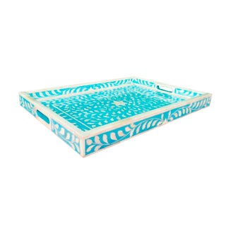 Hand CraftedBlue Floral Bone Inlay Serving Tray Preview