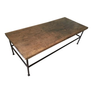 Vintage Wood Tabletop With Iron Base