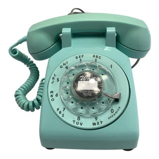 1963 Turquoise Rotary Dial Telephone For Sale
