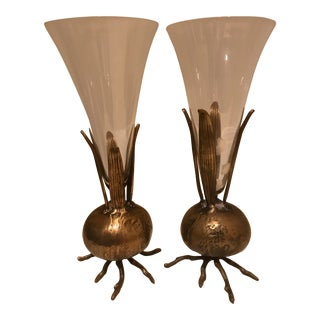 1960s Brutalist Brass and Glass Onion Vases - a Pair