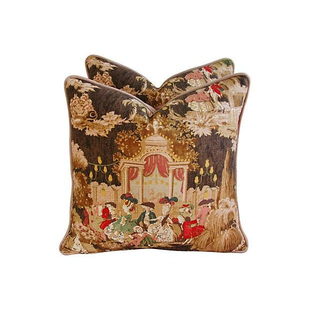 Designer French Versailles Toile Pillows - Pair - Image 4 of 7