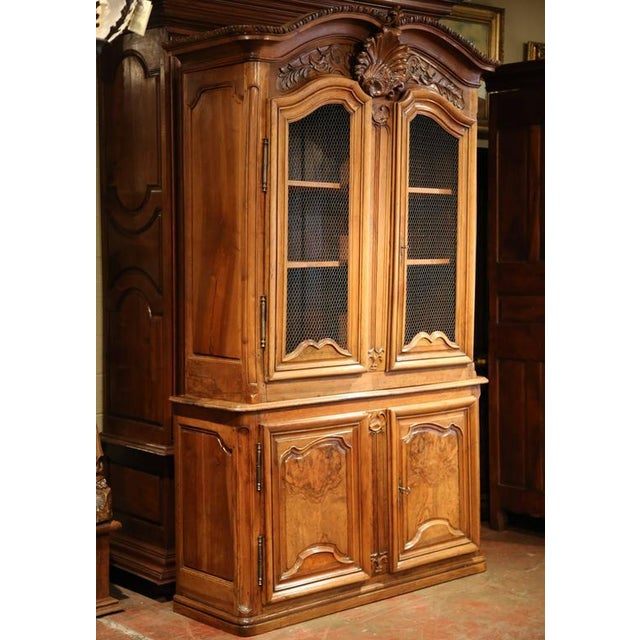 18th Century French Carved Walnut Buffet Deux Corps For Sale In Dallas - Image 6 of 10