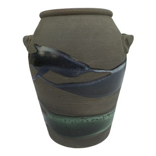 1970s Abstract Blue Green Terracotta Ceramic Vase For Sale