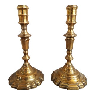 Vintage Solid Brass Candlesticks, A Pair