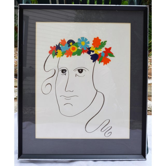 Glass Bohemian Abstract Face Illustration For Sale - Image 7 of 7